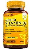Vitamine D 4000 IU - Approvisionnement de 400jours - Vitamine D3 cholécalciférol, 400 gélules molles faciles à avaler, force quadruple, puissance maximale - Fabriqué au Royaume-Uni par Nutravita