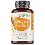 Curcuma Bio 1520 mg avec Poivre Noir et Gingembre Bio - 180 Gélules Vegan 3 mois - Curcumine Bio WeightWorld - Organic Turmeric Black Pepper Ginger - Curcuma Bio Gélule Biodisponible