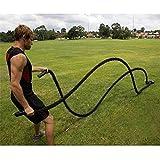 Turefans Corde de Bataille,3.8cm*12m/3.8cm*15m,Corde d'entraînement Corde de Fitness Bataille Ondulatoire pour la Musculation Formation (12m * 38mm Noir, Or)