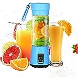 Portable Mixeur des Fruits rechargeable USB,Mini Blender Pour Smoothie, Milk-shake,Jus de fruits,Masque facial,Blender Portable 400ml pour maison et Voyage-Bleu